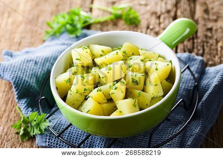 Fresh Homemade Boiled Potatoes With Parsley In Bowl (selective Focus, Focus In The Middle Of The Ima