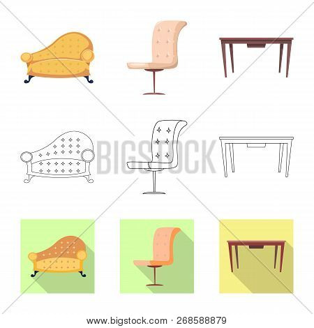 Vector Illustration Of Furniture And Apartment Icon. Collection Of Furniture And Home Stock Symbol F