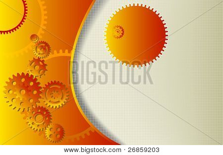 abstract background with gear wheels and copy space