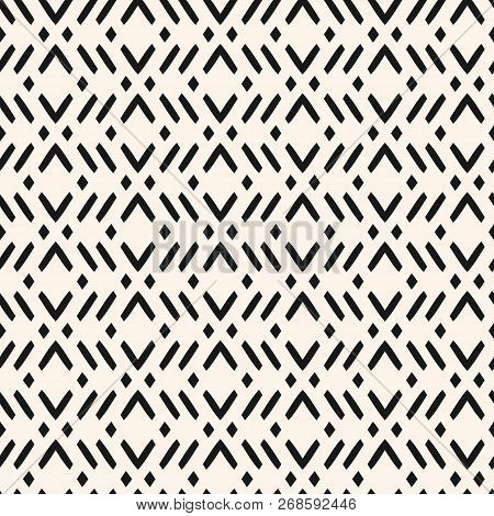 Vector Geometric Seamless Pattern With Zig Zag Lines, Stripes, Rhombuses. Modern Abstract Black And