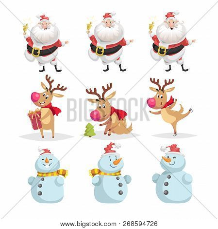 Cute Cartoon Christmas Characters Set. Different Poses And Situations Of Santa Claus, Reindeer And S