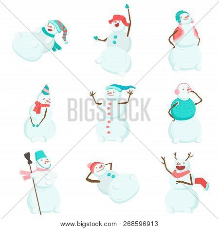 Set Of Funny And Funny Snowmen. Funny Snowmen In Different Costumes And Images. The Snowman Is The K