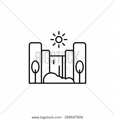 Cascade, Sunny, Tree Outline Icon. Element Of Landscapes Illustration. Signs And Symbols Outline Ico