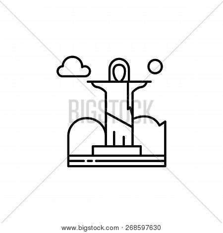 Christ The Redeemer, Cloud Outline Icon. Element Of Landscapes Illustration. Signs And Symbols Outli