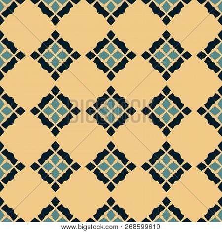 Vector Geometric Seamless Pattern. Traditional Folk Ornament. Texture With Rhombuses, Flower Silhoue