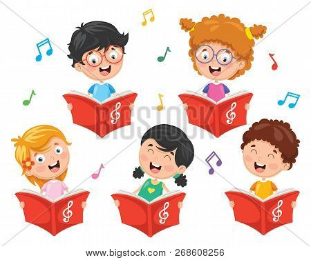 Vector Illustration Of Funny And Cute Kids Choir