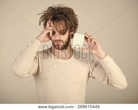 Health and medicine, hangover. Drug and antidepressant, insomnia. Man with pills in blister pack. Dieting pill and vitamin, man with anabolic. Cold, flu and headache treatment, hypnotic tablet. poster