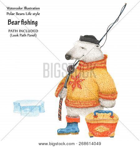 Cute Watercolor Illustration Polar Bear In Winter Fishing. Isolated Clipping Path Included