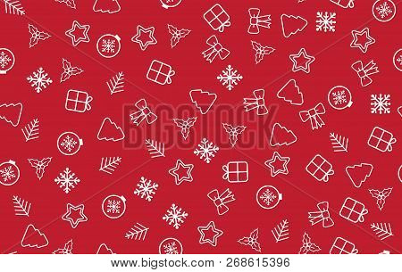Seamless Christmas Pattern. Christmas Pattern With Decorative Snowflakes, Gift Box, Christmas Tree,