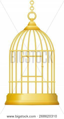 Gilded Cage. Symbol For Being Trapped In Luxury And Wealth, But Without Freedom. Isolated Vector Ill
