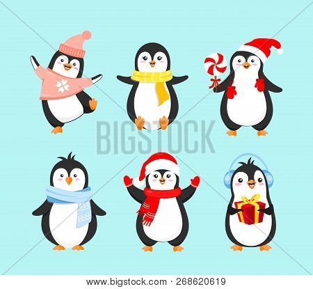 vector illustration set of cute penguins in winter clothes merry christmas concept happy new year and winter holidays penguins collection on light blue