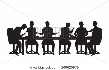 Vector Illustration. Team Meeting In Business Concept. Group Of Businessmen Doing Discussion Communi