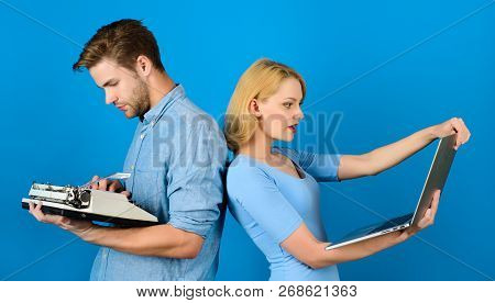 Technology Development. Man With Vintage Typewriter. Woman With Modern Laptop. Modern Technologies B