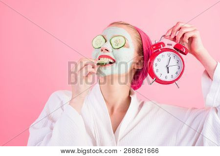 Woman With Cosmetic Cream On Face At Spa Center. Day Spa Concept. Woman At Spa Procedure. Woman With