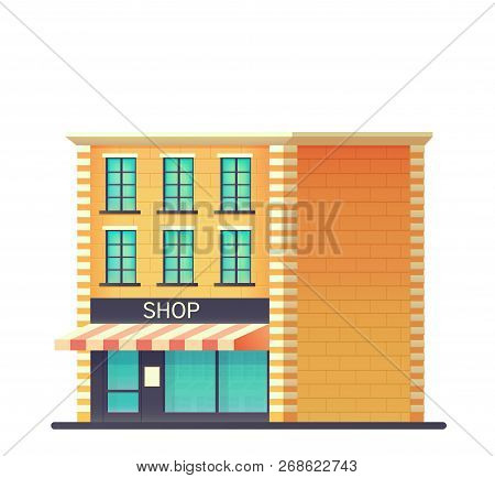 Mini Market Or Shop Store. Shop Building With A Glass-glazed Storefront. Vector Flat Style Illustrat