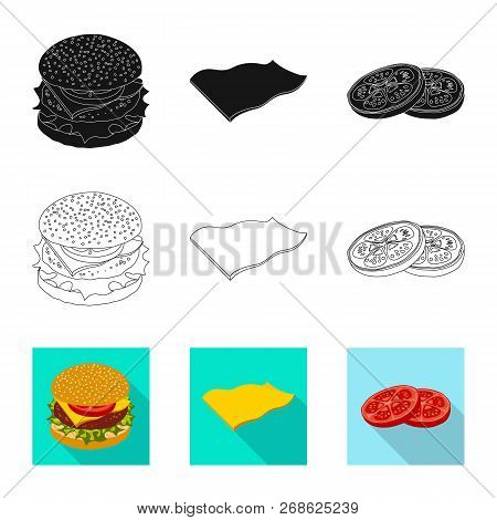 Vector Design Of Burger And Sandwich Sign. Set Of Burger And Slice Stock Vector Illustration.
