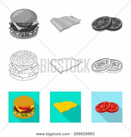 Isolated Object Of Burger And Sandwich Logo. Set Of Burger And Slice Stock Symbol For Web.