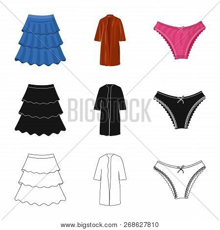 Isolated Object Of Woman And Clothing Symbol. Set Of Woman And Wear Stock Vector Illustration.