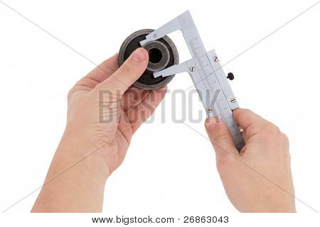 male hand holding coupling on white