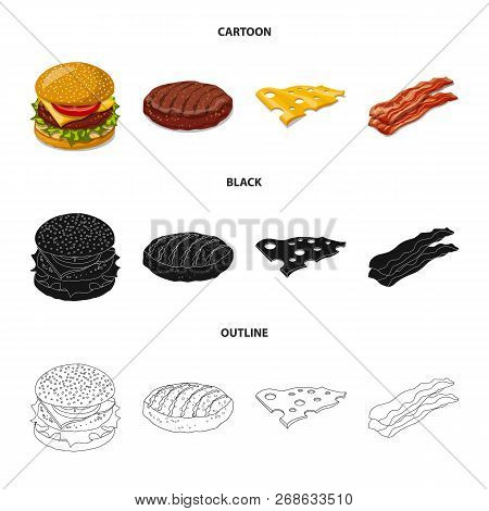 Vector Design Of Burger And Sandwich Symbol. Collection Of Burger And Slice Stock Vector Illustratio