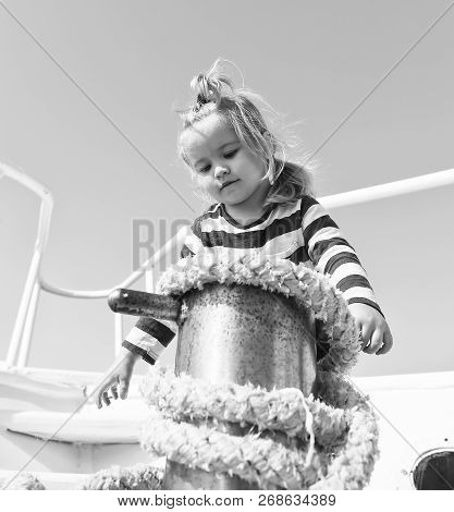 Mooring Ship. Adventure Boy Sailor Travelling Sea. Child Cute Sailor Help With Ropes Yacht Bow. Boy