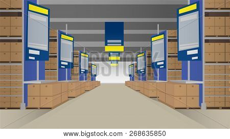 Wholesale With Rows Of Shelves Filled With Closed Boxes. Template For Background. Vector Illustratio