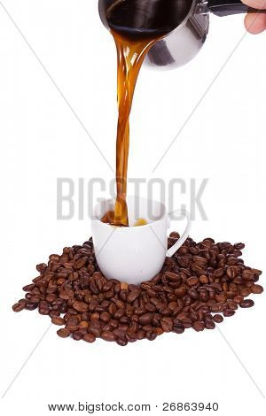 vertical image of pouring coffee drink