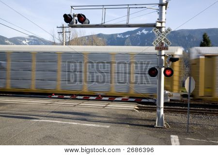 Railroad Crossing Gate With Train Motion