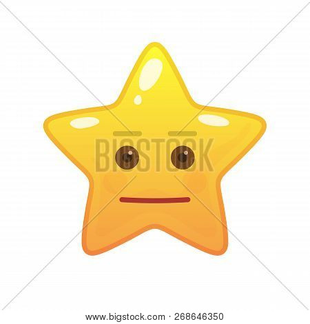 Neutral Star Shaped Comic Emoticon. Inert Face With Facial Expression. Cute Emoji Symbol For Interne