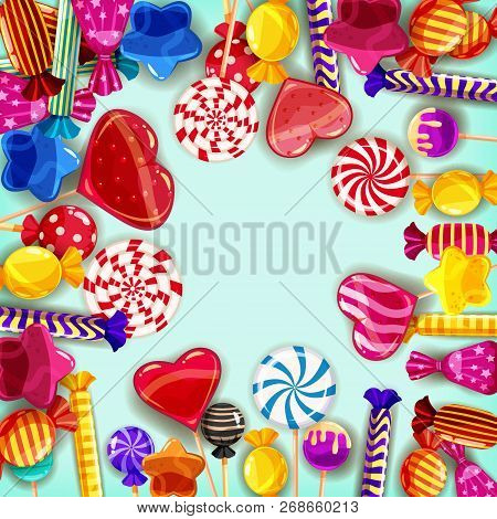 Candy Background Set Of Different Colors Of Candy, Candy, Sweets, Candy, Jelly Beans. Template, Post