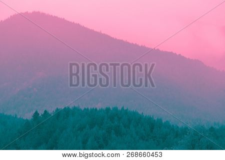 Beautiful Mystic Mountains Sunset Landscape. Mystical Alpine Morning, Sunrise In Violet And Pink Col