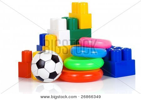 colorful plastic toys isolated on white