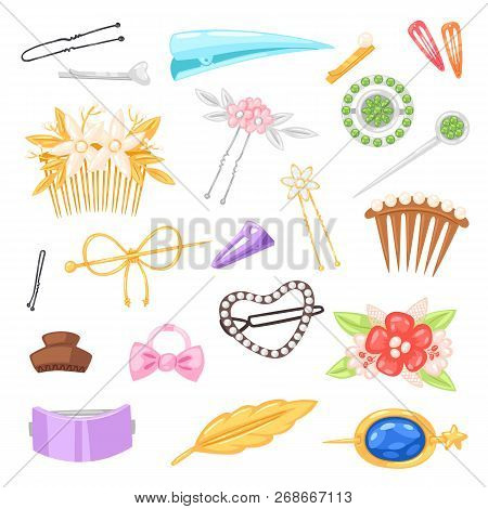 Hair Accessory Vector Hairpin Or Hair-slide And Hair-clip Ponytailer For Girlish Hairstyle Illustrat