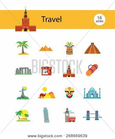 Travel line icon set. Eifel tower, suitcase, tourist mat, mountains, palms. Tourism care concept. Can be used for topics like sightseeing, hiking, trip, journey, vacation poster