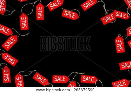 Red Sale And Discount Shop Labels Isolated On Black Bakcground With Space For Text During Black Frid