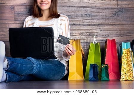 Woman Female Adult Smiling Buying Making Payment On Fashion Cloth Internet Online Store Shop By Cred