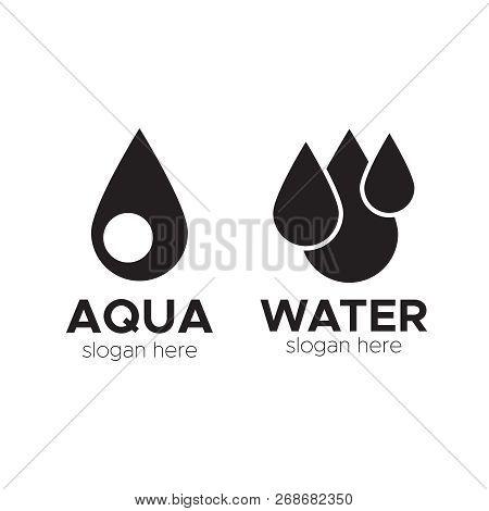 Blue Water Drop Logos, Icons Vector Set. Drop Liquid Logo And Mineral Water Aqua Drop Illustration