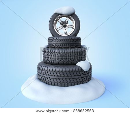 Snow Tires In The Shape Of A Christmas Tree On A Snow 3d Render On Blue