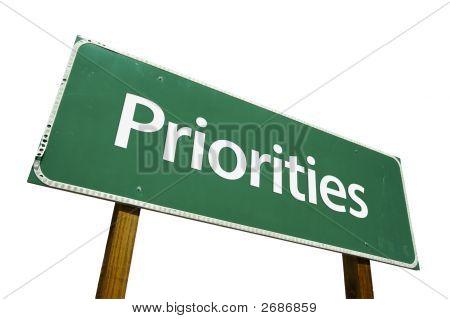 Priorities Road Sign