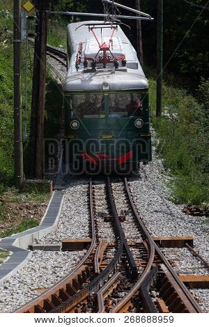 Mountain Tram In Alps. France, Chamonix Valley. Popular Touristic Destination