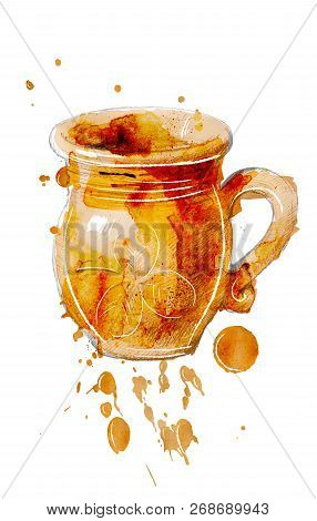 Beer Mug Of Pottery With Decoration In The Form Of A Leaf Of Clover