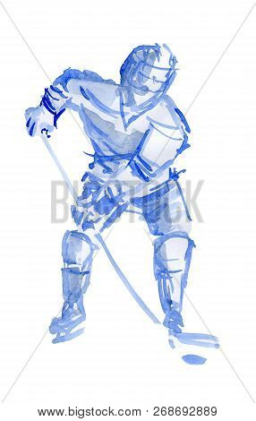 Hockey Player In Training. Watercolor Sketch On White Background