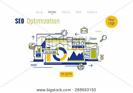 Stock Vector Concept Of Landing Page In Flat Design Style For Seo Optimized Website