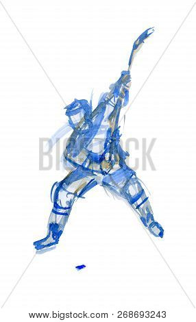 Strong Blow. Hockey Player In Training. Watercolor Sketch