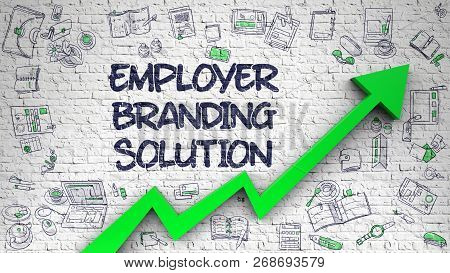Employer Branding Solution Drawn On White Brick Wall. 3d.