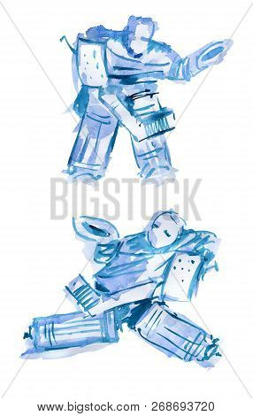 Hockey Goalkeeper. Watercolor Sketch Of Two Figures On A White Background