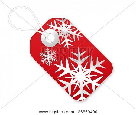 Christmas Gift Tag With Snowflakes In Red