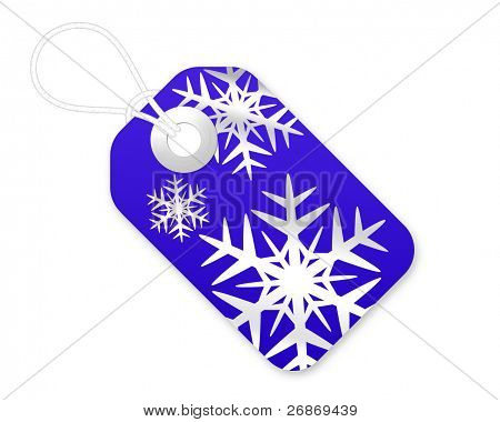 Christmas Gift Tag With Snowflakes In Blue