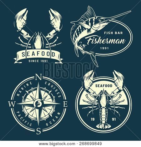 Vintage Monochrome Nautical And Marine Labels With Navigational Compass Lobsters Marlin Isolated Vec