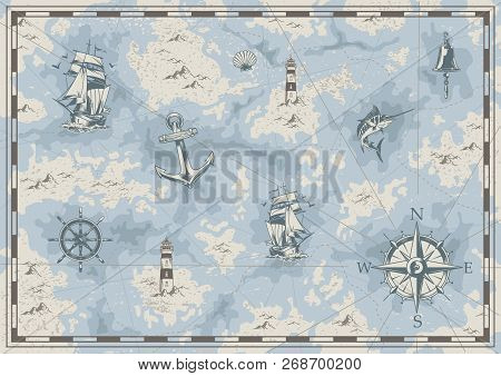 Vintage Nautical Old Map Concept With Ship Bell Lighthouse Swordfish Anchor Wheel Navigational Compa